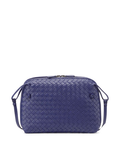 Intrecciato Small Zip Crossbody Bag, Cobalt Blue