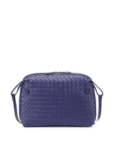 Intrecciato Small Zip Crossbody Bag, Cobalt Blue