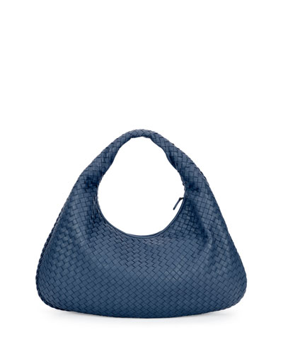 Veneta Intrecciato Large Hobo Bag, Cobalt Blue