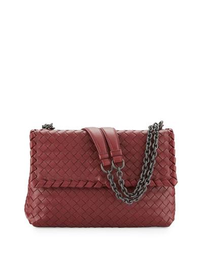 Olimpia Medium Intrecciato Shoulder Bag, Wine