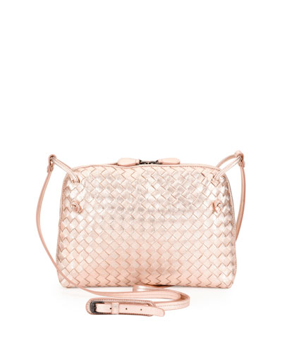 Small Intrecciato Grosgrain Crossbody Bag, Rose Gold