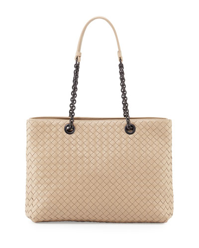 Intrecciato Medium Double-Chain Tote Bag, Beige