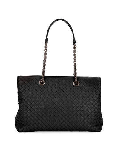 Intrecciato Medium Double-Chain Tote Bag, Black