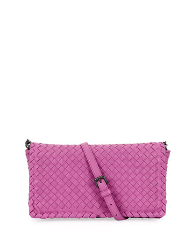 Small Woven Leather Clutch Bag, Pink