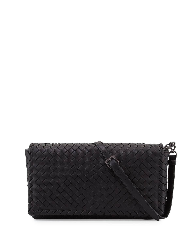 Small Intrecciato Flap Clutch Bag w/Strap, Black