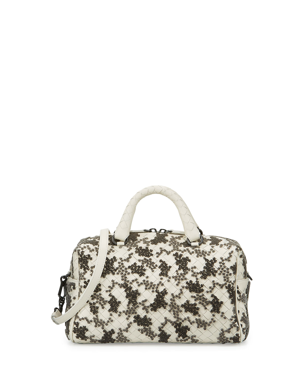 Velvet Bouquet Small Intrecciato Duffel Bag, White