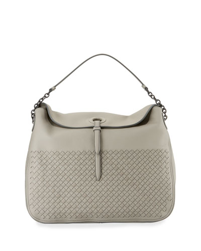 Intrecciato Cervo Flap-Top Hobo Bag, Gray
