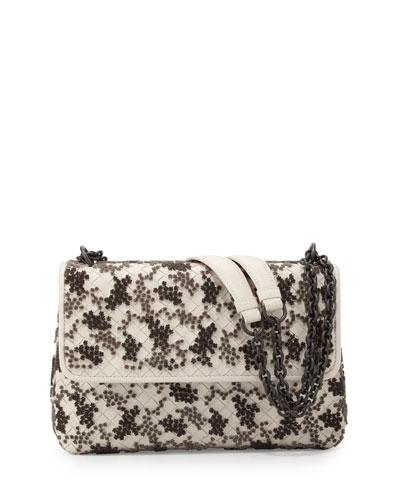Olimpia Medium Flocked Intrecciato Shoulder Bag, Beige