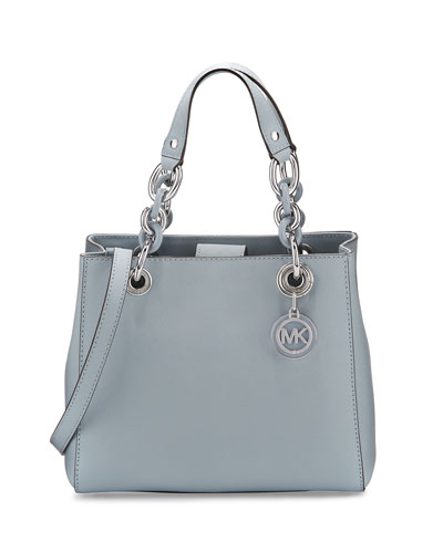 Cynthia Small Saffiano Satchel Bag, Dusty Blue