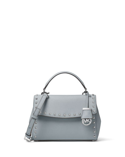 Ava Stud Small Satchel Bag, Dusty Blue