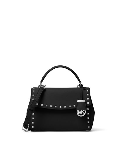 Ava Stud Small Satchel Bag, Black