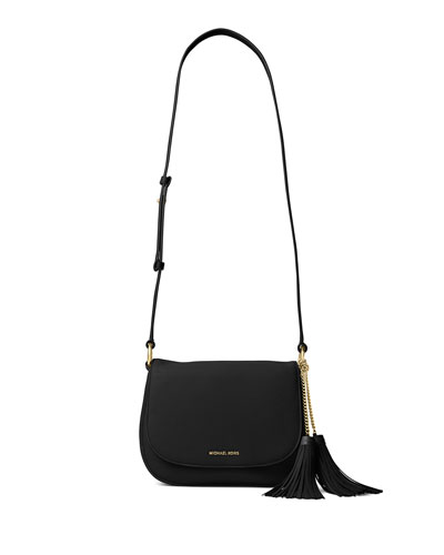 Elyse Large Leather Saddle Bag, Black