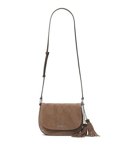 Elyse Large Suede Saddle Bag, Dark Dune