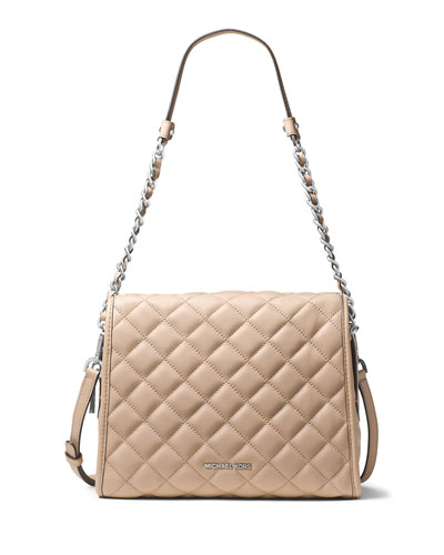 Rachel Medium Quilted Leather Satchel Bag, Bisque
