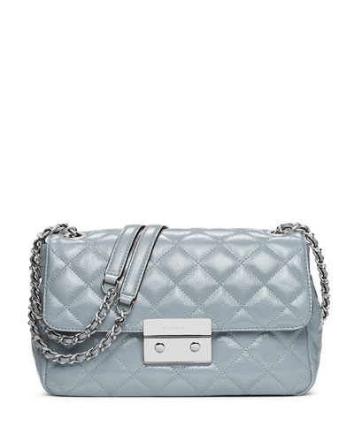 Sloan Large Chain Patent Shoulder Bag, Dusty Blue