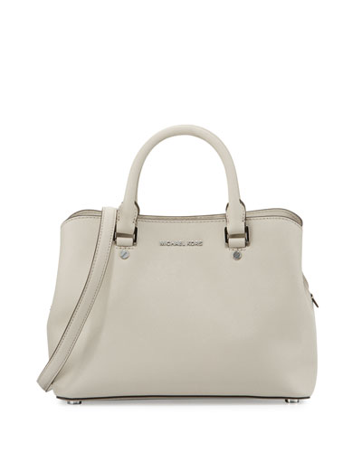 Savannah Medium Saffiano Satchel Bag, Cement