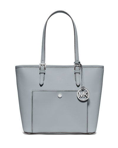 Jet Set Medium Snap-Pocket Tote Bag, Dusty Blue