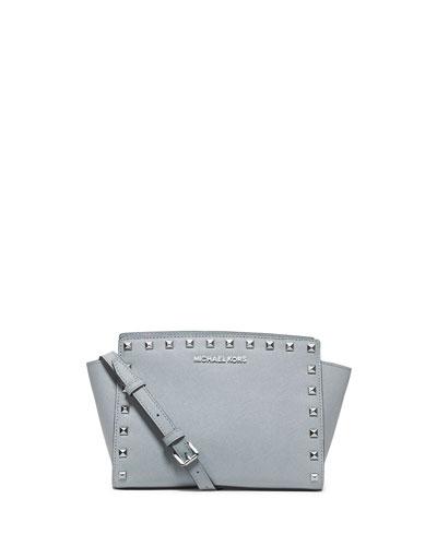 Selma Stud Medium Messenger Bag, Dusty Blue