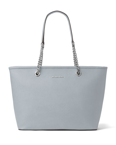 Jet Set Travel Chain Top-Zip Multifunction Tote Bag, Dusty Blue
