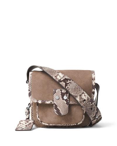 Hewitt Medium Suede Messenger Bag, Dark Dune