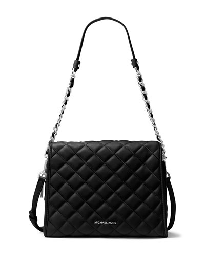 Rachel Medium Quilted Satchel Bag, Black
