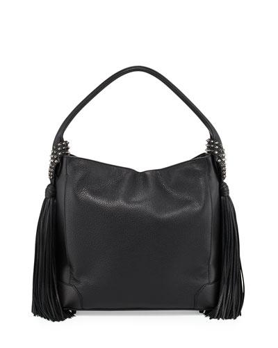Eloise Fringe Leather Hobo Bag, Black