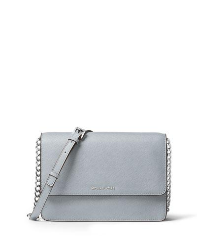 Daniela Large Saffiano Crossbody Bag, Dusty Blue
