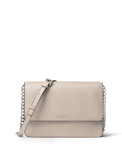 Daniela Large Saffiano Crossbody Bag, Cement
