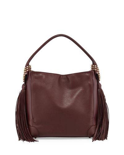 Eloise Fringe Leather Hobo Bag, Bordeaux