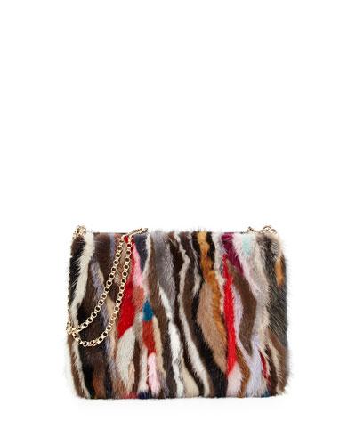 Triloubi Large Striped Mink Fur Shoulder Bag, Multi