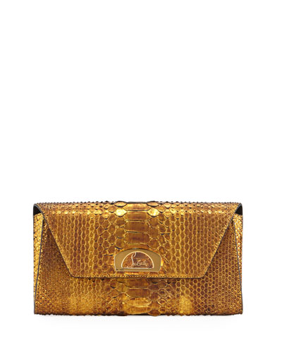 Riviera Metallic Python Clutch Bag, Gold