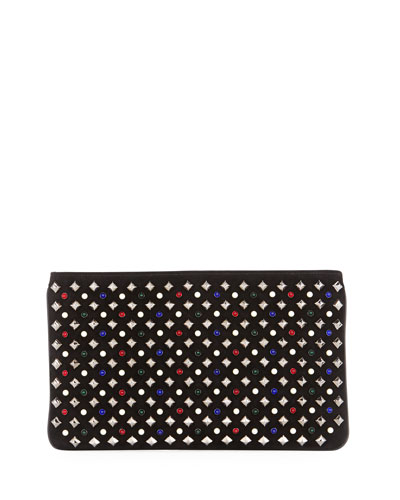 Loubiposh Tudor Spikes Clutch Bag, Black