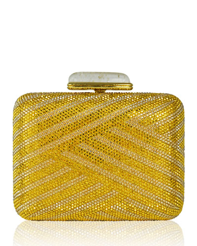 Large Slim Rectangle Crystal Clutch Bag, Champagne Aurum