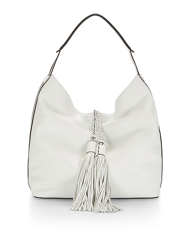 Isobel Leather Hobo Bag, White