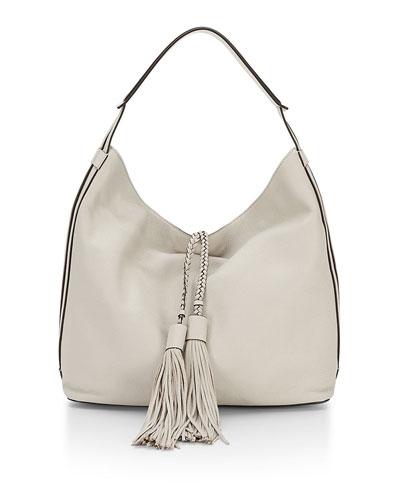 Isobel Leather Hobo Bag, Putty