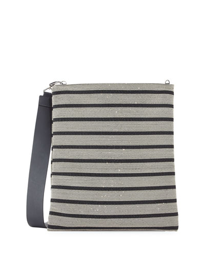 Large Flat Metallic Striped Clutch Bag, Black/Silver