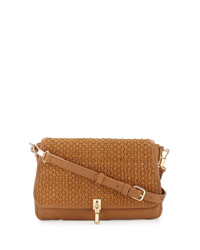 Cynnie Basket-Weave Mini Crossbody Bag, Dune