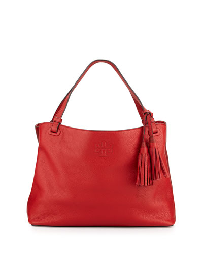 Thea Center-Zip Tote Bag, Rust Red
