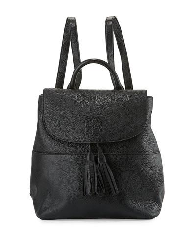 Thea Leather Tassel Backpack, Black