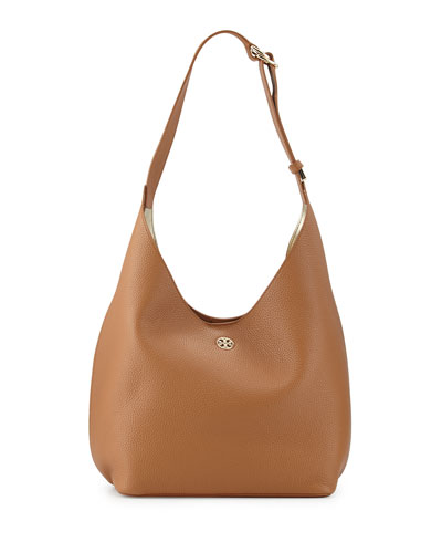 Perry Leather Hobo Bag, Bark
