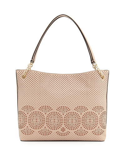 Zoey Perforated Leather Tote Bag, Light Oak/Gingersnap
