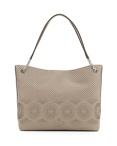 Zoey Perforated Leather Tote Bag, French Gray