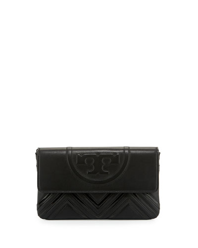 Fleming Geometric Leather Clutch Bag, Black