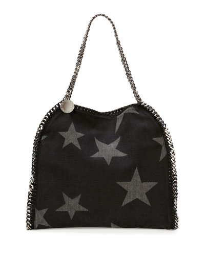 Falabella Small Denim Star Tote, Black