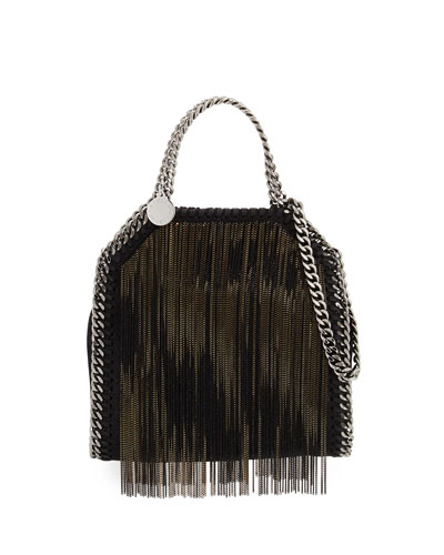 Falabella Tiny Metal Fringe Tote Bag, Black/Bronze