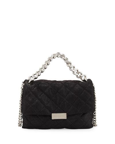 Bex Small Quilted Flap Shoulder Bag, Black