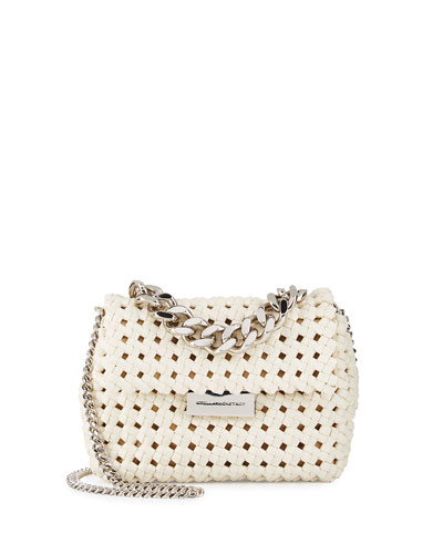 Bex Small Woven Crossbody Bag, Ivory