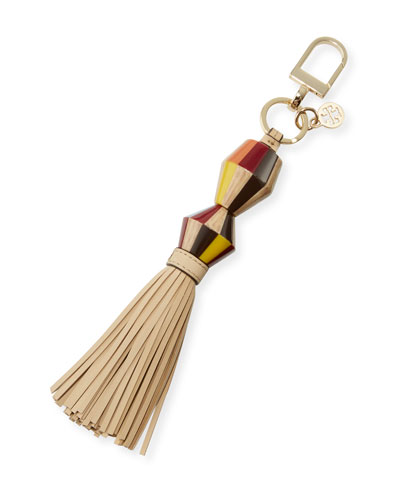 Painted-Wood Tassel Key Fob/Bag Charm, Soft Camel