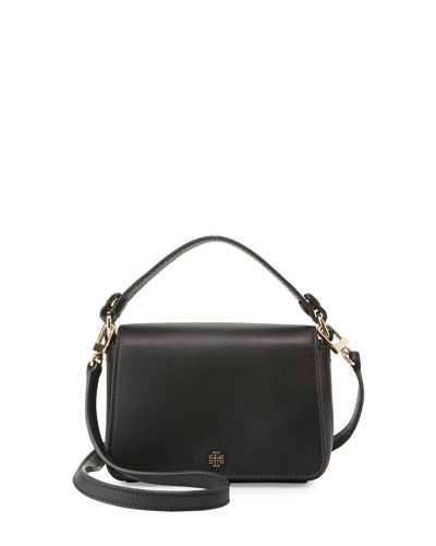 Saffiano Leather Micro Satchel Bag, Black