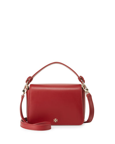 Saffiano Leather Micro Satchel Bag, Red Stone